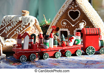 Christmas for children with toy red train - Red Christmas...