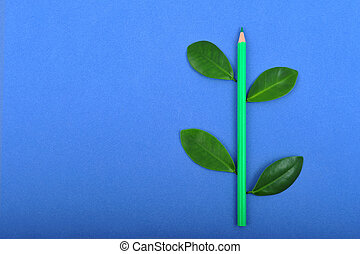 Pencil with leaf - Green pencil wit leafage on blue...