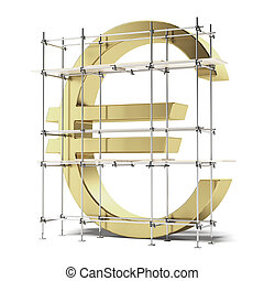 golden Euro sign with scaffold isolated on a white...
