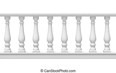 White Balustrade  isolated on a white background. 3d render