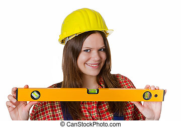 Craftswoman with hardhat and water level
