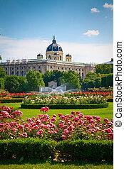 Park Volksgarten in front of Hofburg, Vienna - flowers and...