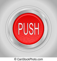 Red round push button bordered by a metallic ring