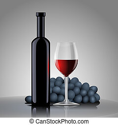 Bottle with red wine with a glass and grapes