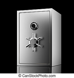 Silver safe  isolated on a black background. 3d render