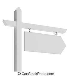 White arrow sign isolated on a white background. 3d render