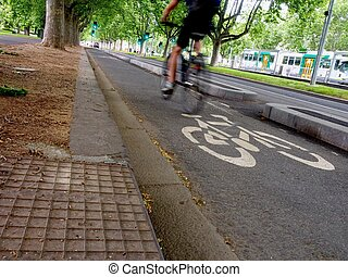 bike rider in Melbourne - bike track with bicycle rider in...