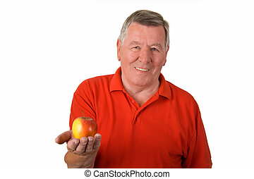 Old man holding an apple