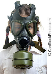 Pollution concept - Little girl with gas mask on face,...