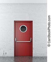 Red ?mergency exit door