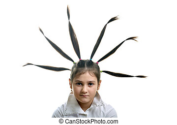 Rised hair - Little girl portrait with six hair plaits...