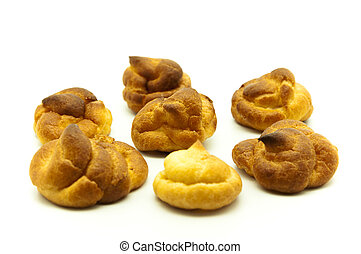 Round shaped cookies on a white background