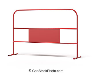 Red steel barrier isolated on a white background. 3d render