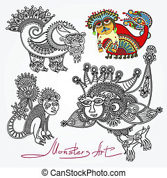 ornate doodle fantasy monster personage - original modern...