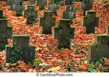 autumn graveyard - autumn scenery at a graveyard in...
