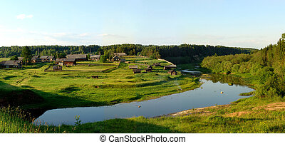 North village panorama 2 - A beautiful view of a village in...