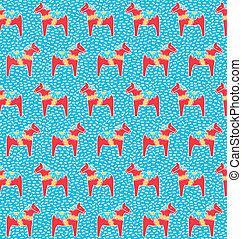 Dala horse seamless pattern