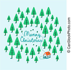 House in woods Christmas illustration
