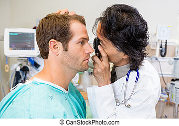 Doctor, With, Ophthalmoscope, Examining, Patient's, Eye