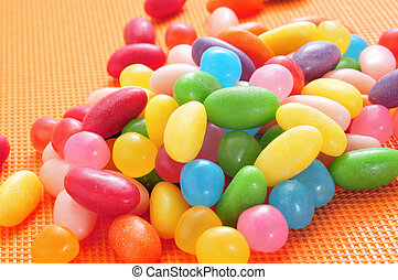 jelly beans - closeup of a pile of delicious jelly beans of...