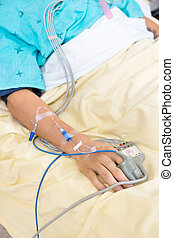 Pulse Oximeter Attached To Patients Finger - Pulse oximeter...