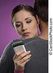 mujer, infidelidad, ella, móvil, joven, Abrazar, teléfono,...