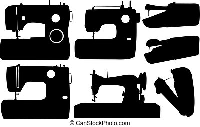 sewing machines - set of different sewing machines