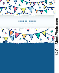 Colorful doodle bunting flags vertical torn frame seamless...