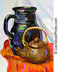 Still life with a tea pot and jug