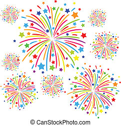 Firework - Colorful firework on white background eps10