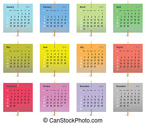 2014 English calendar - Calendar for 2014 on colorful...