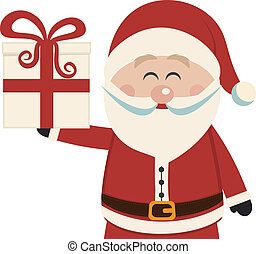 santa claus hold christmas gift isolated