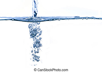 Water steam - Water bubbles from steam of water on white...