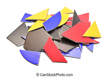 tangram - random pieces of tangram game isolated on white