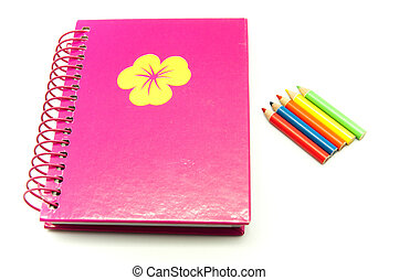 passbook colored pencils on a white background