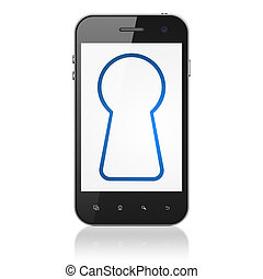Security concept: Keyhole on smartphone