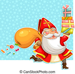 sinterklaas with presents - cartoon Sinterklaas st Nicholas...
