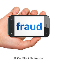 Safety concept: Fraud on smartphone - Safety concept: hand...