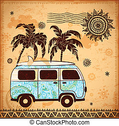 Retro Travel bus with vintage background