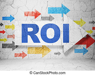 Business concept: arrow whis ROI on grunge wall background -...