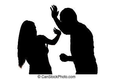 silueta, assustado, mulher, protegendo, macho, ataque,...