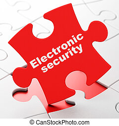 Safety concept: Electronic Security on puzzle background