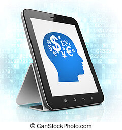 Business concept: black tablet pc computer with Head With Finance Symbol icon on display. Modern portable touch pad on Blue Digital background, 3d render