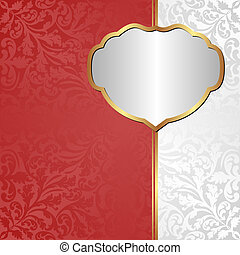 background - white red background with ornaments and golden...