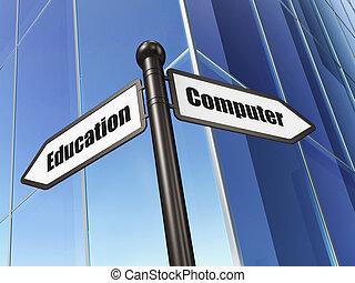 edificio, computadora, educación,  concept:, señal