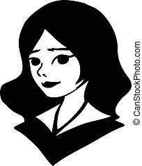 black-and-white portrait of a pretty girl. vector drawing