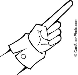 Black and white vector hand points - Black and white vector...