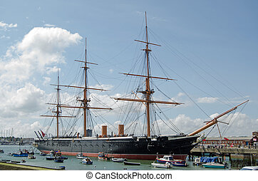 HMS Warrior, Portsmouth - HMS Warrior docked in Portsmouth,...