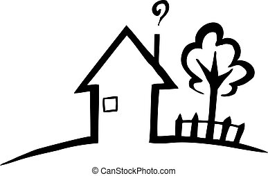 Black and white silhouette of a small house and a tree