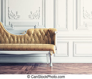 vintage interior - Beautiful vintage sofa next to wall...